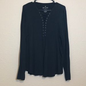Dark Grey/blue American Eagle long sleeve top